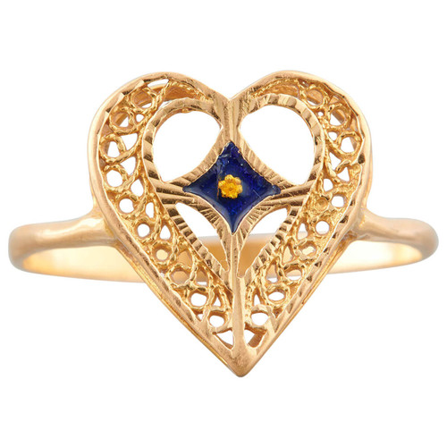 Second Hand 21ct Gold Openwork Heart Ring