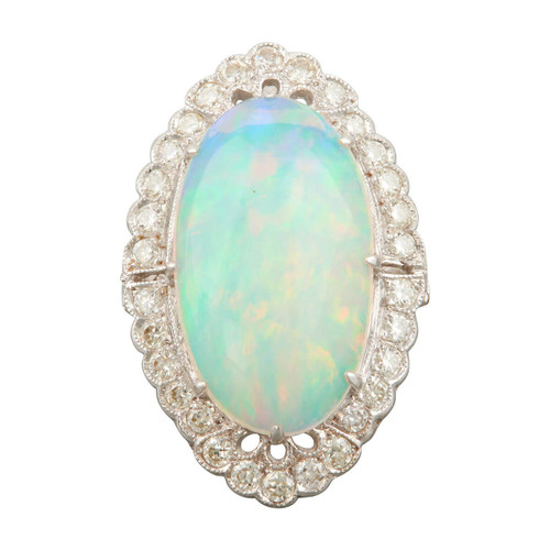 Second Hand 18ct White Gold Large Opal and Diamond Cluster Ring