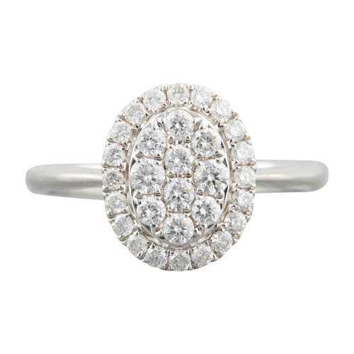 Second Hand 18ct White Gold Oval Cluster Ring