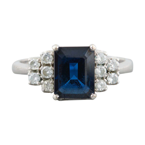 Second Hand 14ct White Gold Rectangle Sapphire and Diamond Trefoil Ring