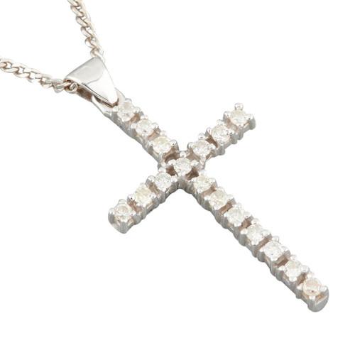 Second Hand 18ct White Gold Diamond Cross Pendant & Chain