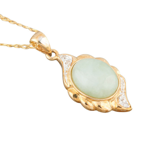 Second Hand 9ct Gold Jade & Diamond Pendant and Chain