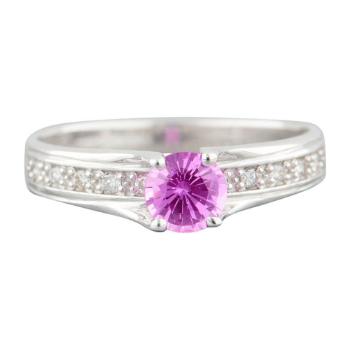 Second Hand 14ct White Gold Pink Sapphire Solitaire Ring