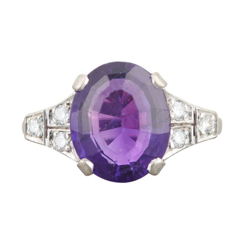 Second Hand 18ct White Gold Oval Amethyst and Trefoil Diamond Ring