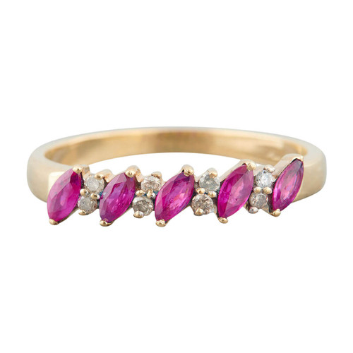 Second Hand 9ct Gold Marquise Ruby & Diamond Eternity Ring