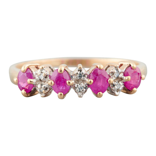 Second Hand 9ct Gold Oval Ruby & Diamond Eternity Ring