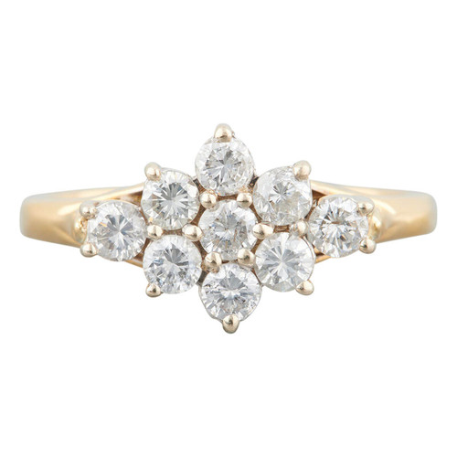 Second Hand 18ct Gold Elongated Diamond Cluster Ring
