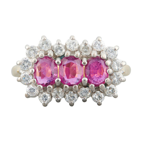 Second Hand 18ct Gold Ruby & Diamond Triple Cluster Ring
