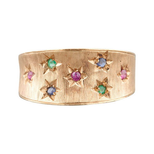 Vintage 9ct Gold Multi Stone Band Ring - 1962
