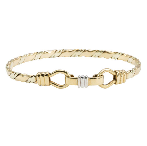 Second Hand 9ct 3 Colour Gold Stirrup Bangle