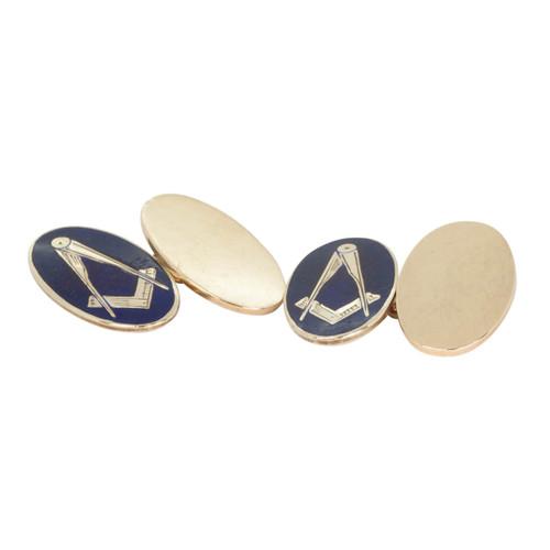 Pre Owned Gold & Enamel Masonic Cufflinks
