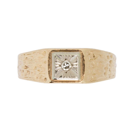 Second Hand 14ct Gold Diamond Square Signet Ring