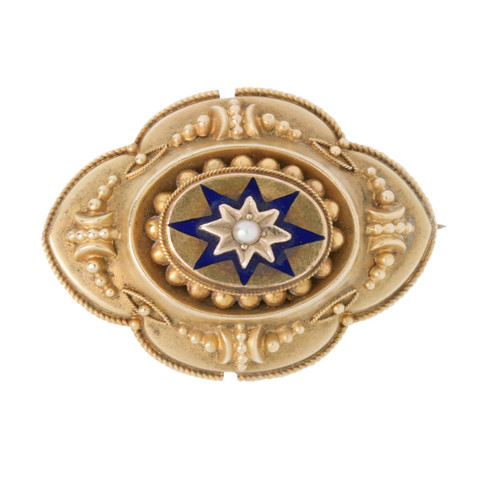 Antique Pearl & Enamel 9ct Gold Mourning Brooch