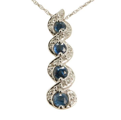 Second Hand Sapphire & Diamond 14ct Gold Pendant