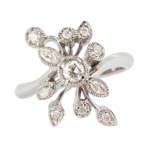 Second Hand 14ct Gold Flower Diamond Dress Ring