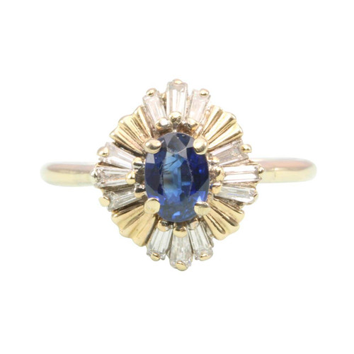 Second Hand Sapphire & Diamond 14ct Gold Vintage Style Cluster Ring
