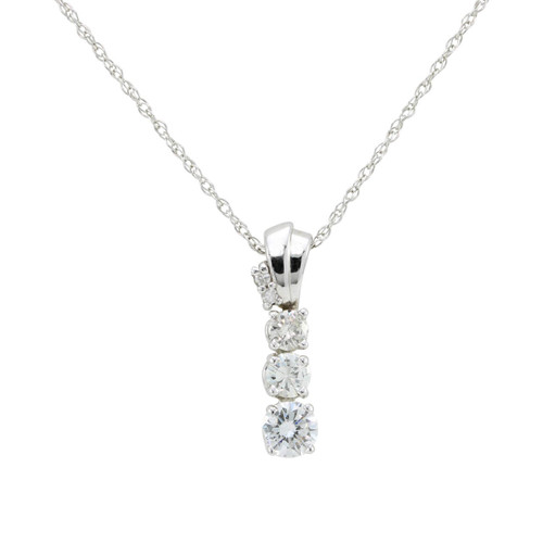 Second Hand 3 Stone Diamond 14ct Gold Journey Pendant