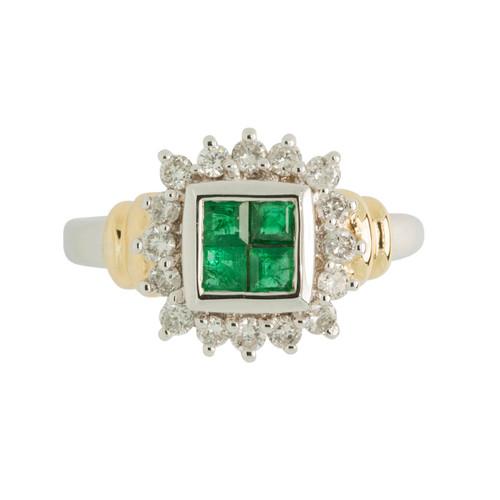 Second Hand Art Deco Style 18ct Gold Emerald & Diamond Ring