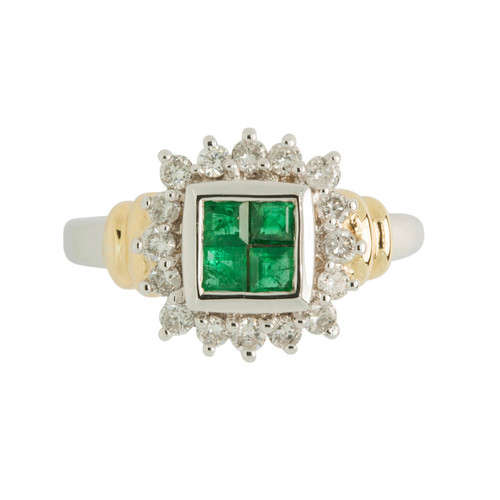 Second Hand Art Deco Style 18ct Gold Emerald & Diamond Ring