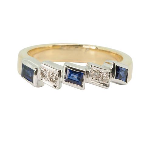 Second Hand 18ct Gold Sapphire & Diamond Eternity Ring