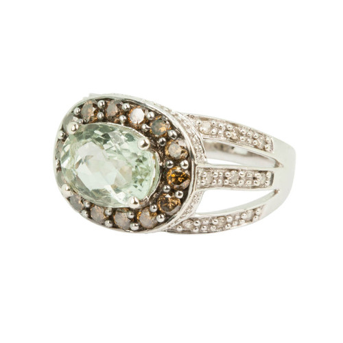 Second Hand 14ct Gold Green Amethyst and Diamond Ring