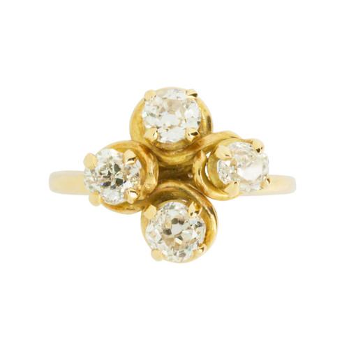 Antique 1.2 Carat Four Stone Diamond 18ct Gold Dress Ring