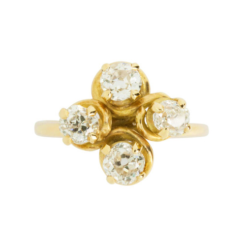 Antique 1.2 Carat Four Stone Diamond 18ct Gold Dress Ring