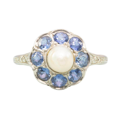 Second Hand 18ct Gold Sapphire and Pearl Cluster Ring