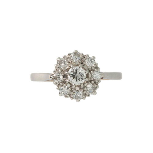 Pre-Owned 0.65 Carat Diamond 18ct Gold Daisy Ring