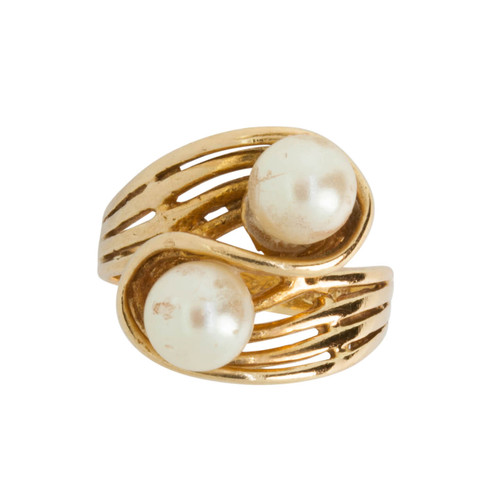 Second Hand 14ct Gold 2 Stone Pearl Cross Over Ring