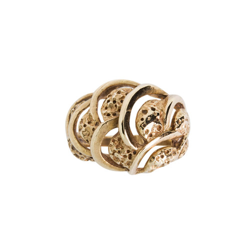 Second Hand 9ct Gold Wave Pattern Ring