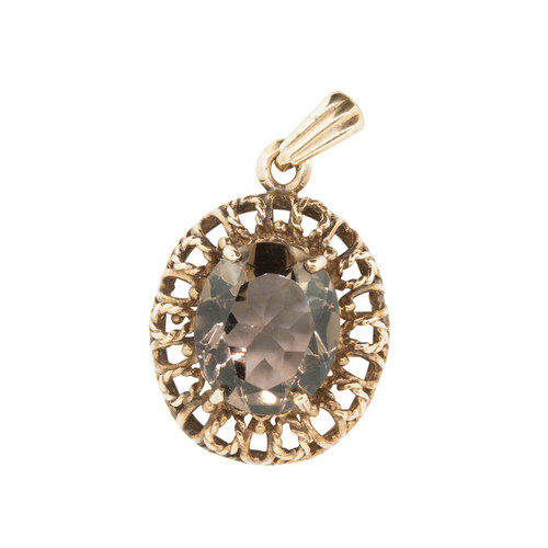 Vintage 9ct Gold Smoky Quartz Pendant