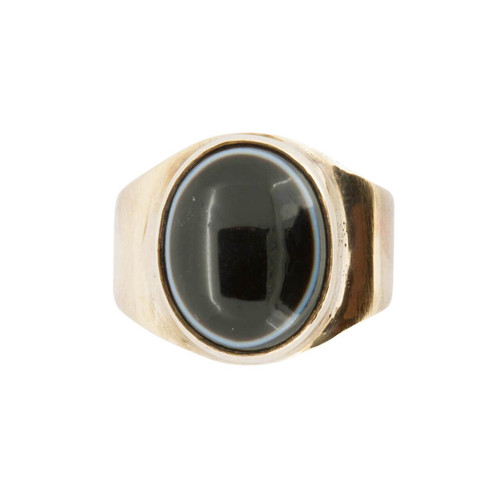Second Hand Onxy 9ct Gold Navajo Signet Ring