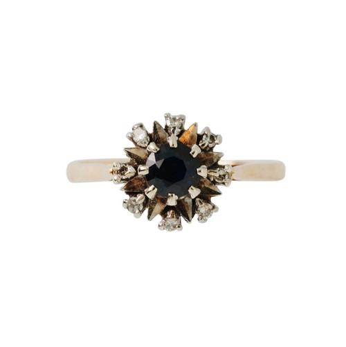 Second Hand 18ct Gold Sapphire & Diamond Cluster Ring