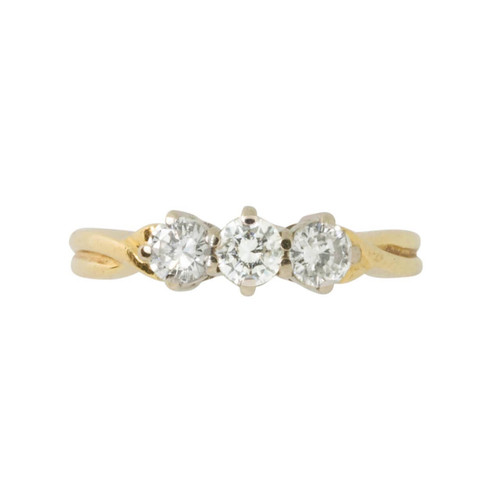 Second Hand 18ct Gold 0.60 Carat Three Stone Diamond Ring