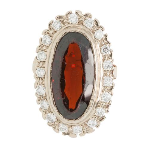 Vintage 18ct Gold Garnet & Diamond Cluster Ring