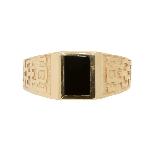 Second Hand 14ct Gold Onyx Signet Large Size Ring