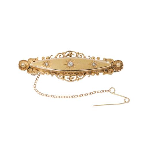Antique Edwardian 15ct Gold Diamond Brooch
