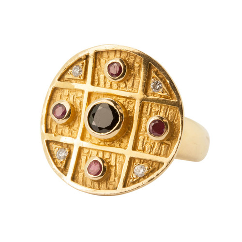 Second Hand Absract Sapphire, Ruby & Diamond 18ct Gold Ring