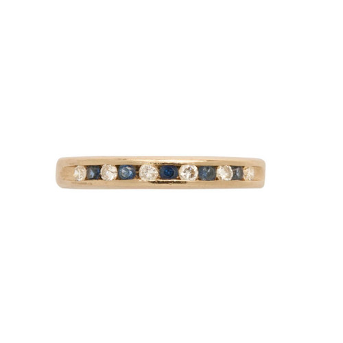 Second Hand 14ct Gold Sapphire & Diamond Channel Set Eternity Ring