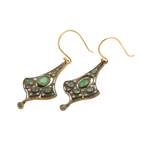 Vintage Style Emerald & Diamond Earrings