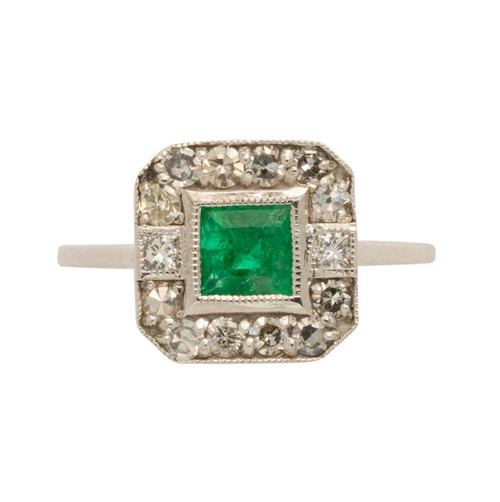 Vintage Style 18ct Gold Emerald & Diamond Ring