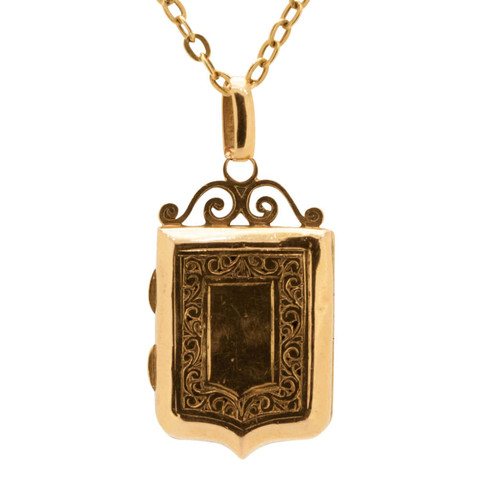 Antique 18ct Gold Shield Locket with Chain