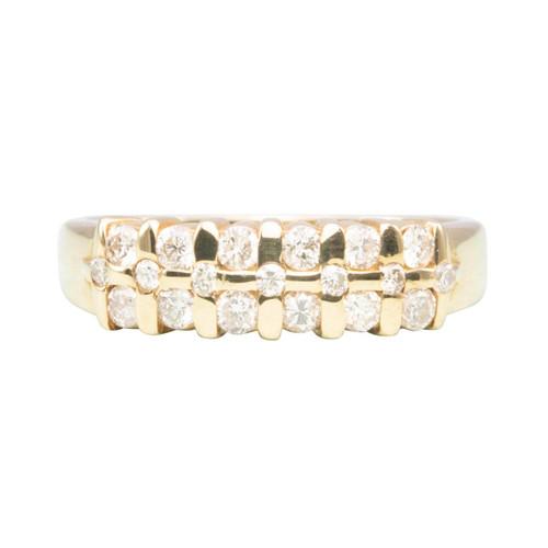 Second Hand 14ct Gold Diamond Three Row Aria Eternity Ring