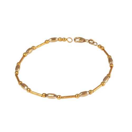 Second Hand 2 Colour 18ct Gold Fancy Tube Link Bracelet