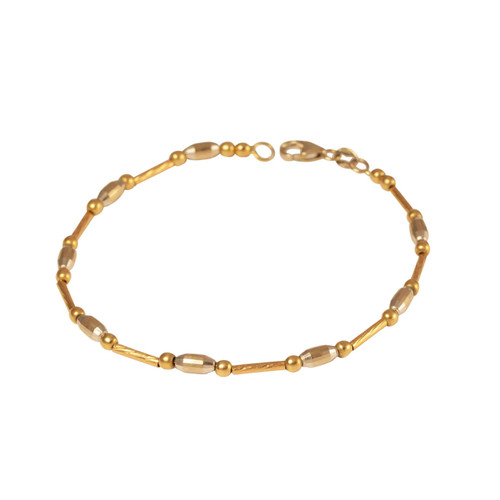 Second Hand 2 Colour 18ct Gold Fancy Tube Link Bracelet