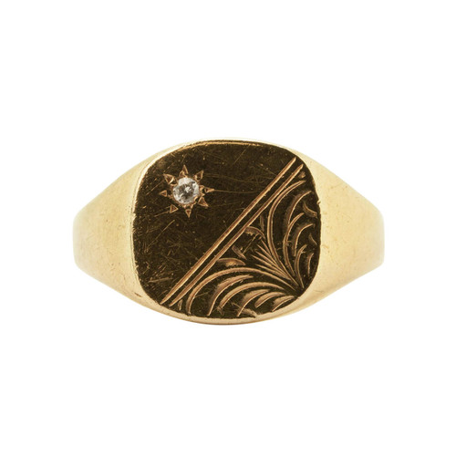 Pre Owned 9ct Gold Diamond Signet Ring