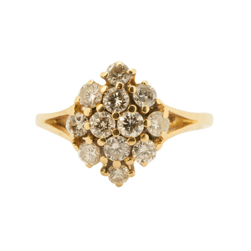 Second Hand 18ct Gold Diamond Oval Cluster Ring