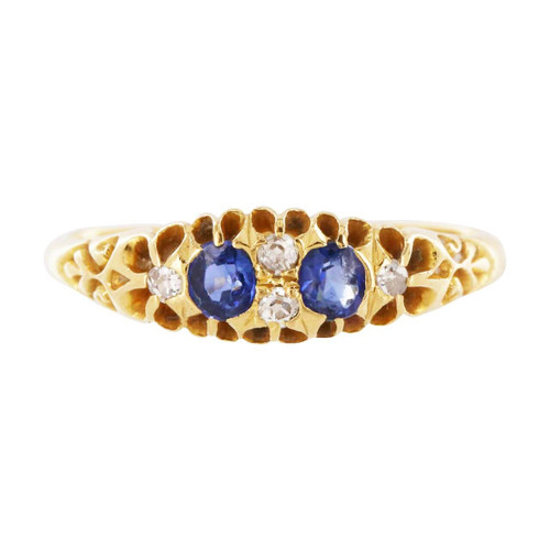 Antique 18ct Gold Sapphire & Diamond Boat Shape Ring
