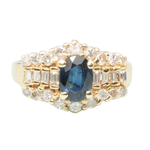 Second Hand 14ct Gold Sapphire and Diamond Cluster Ring